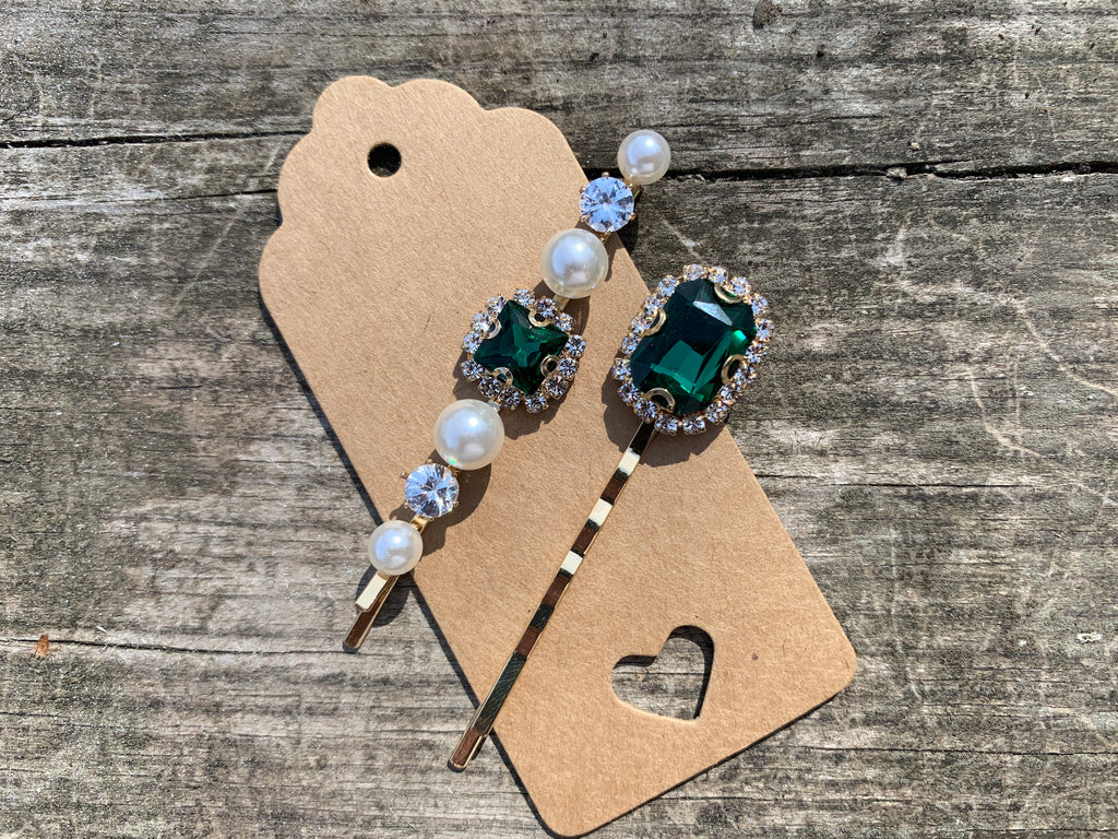 Two clip set - Green rhinestones and pearl
