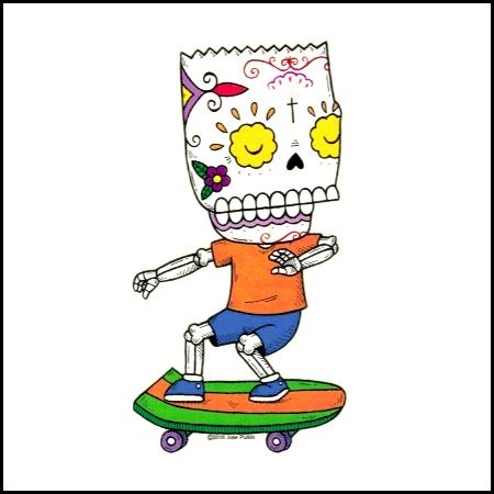 Bart Skateboard - Day of the Dead Sticker