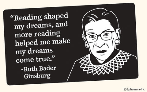 Reading Shaped Ginsburg Bumper Sticker