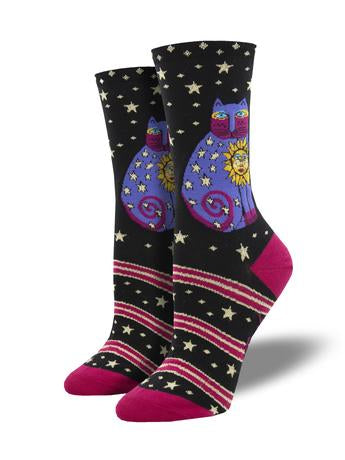 Celestial Sun Cat Black Socks
