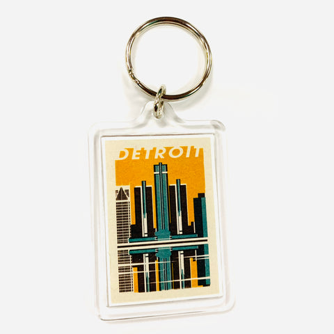 Detroit Woodblock Keychain