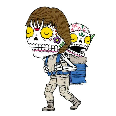 Luke and Yoda - Day of the Dead Sticker