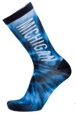 Michigan Blue Tie Dye Socks