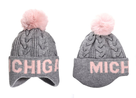Michigan Gray/Pink Knit Pom Hat