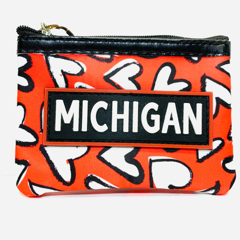 Michigan Hearts Coin Purse