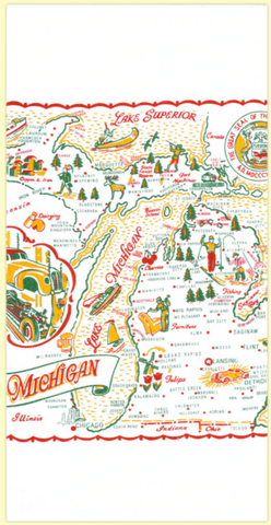 Michigan Map Towel Small