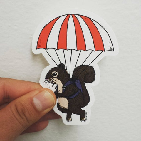 Parachute Squirrel Sticker