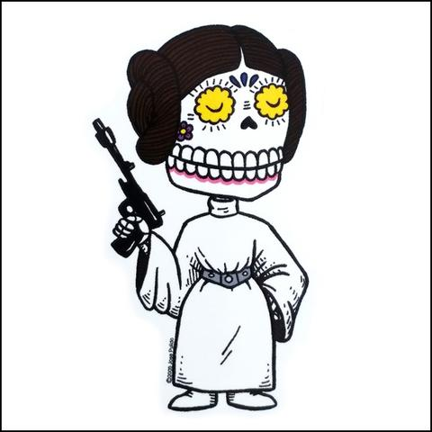 Princess Leia - Day of the Dead Sticker