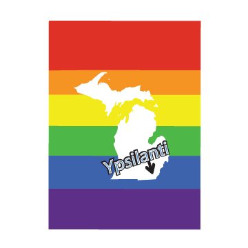Rainbow Ypsilanti Arrow 2'x3' Magnet