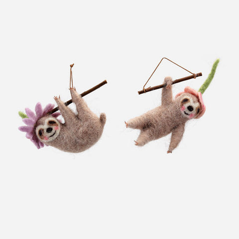 Sloth & Flower Felted Ornament
