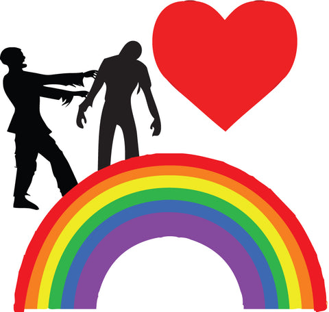 Zombies Heart Rainbows Sticker