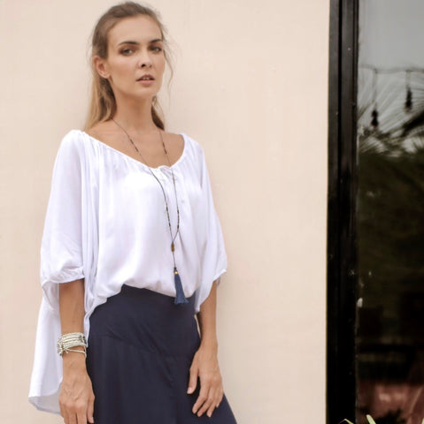 Lola Top (long)  Classic White