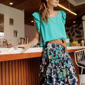 Isabella Midi Skirt  Midnight Blue Orchid
