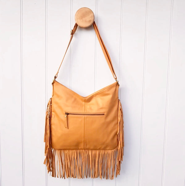 Cowhide Cross-body Bag with Fringe