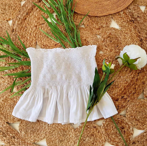 Bandeau Top with Frill Classic White