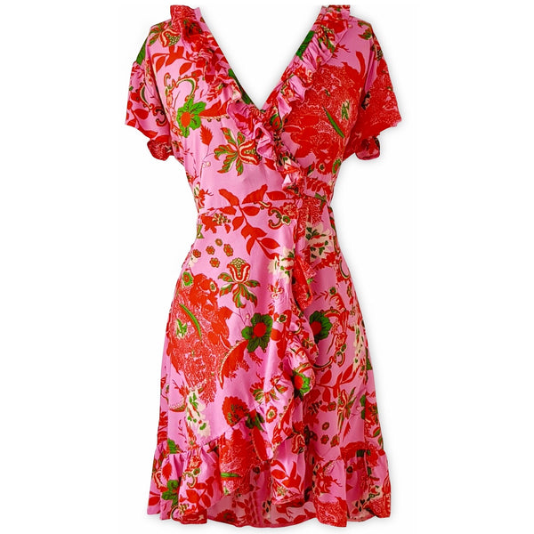 Lucy Wrap Midi Dress Hot Pink Orchid