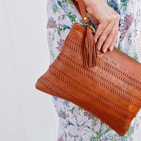 Boho Clutch in Tan