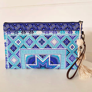 Hill Tribe Embroidered Wallet Indigo & Sky Blue