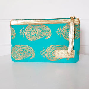 Gold Paisley Wallet - Turquoise