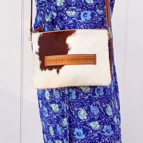 Cowhide Clutch with  Shoulder Strap