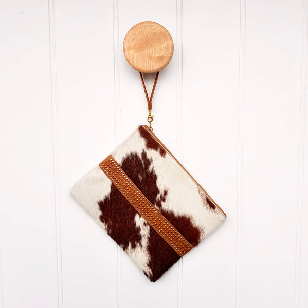 Cowhide Clutch with  Studded Handle