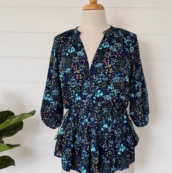 Violet Top midnight blue mini floral
