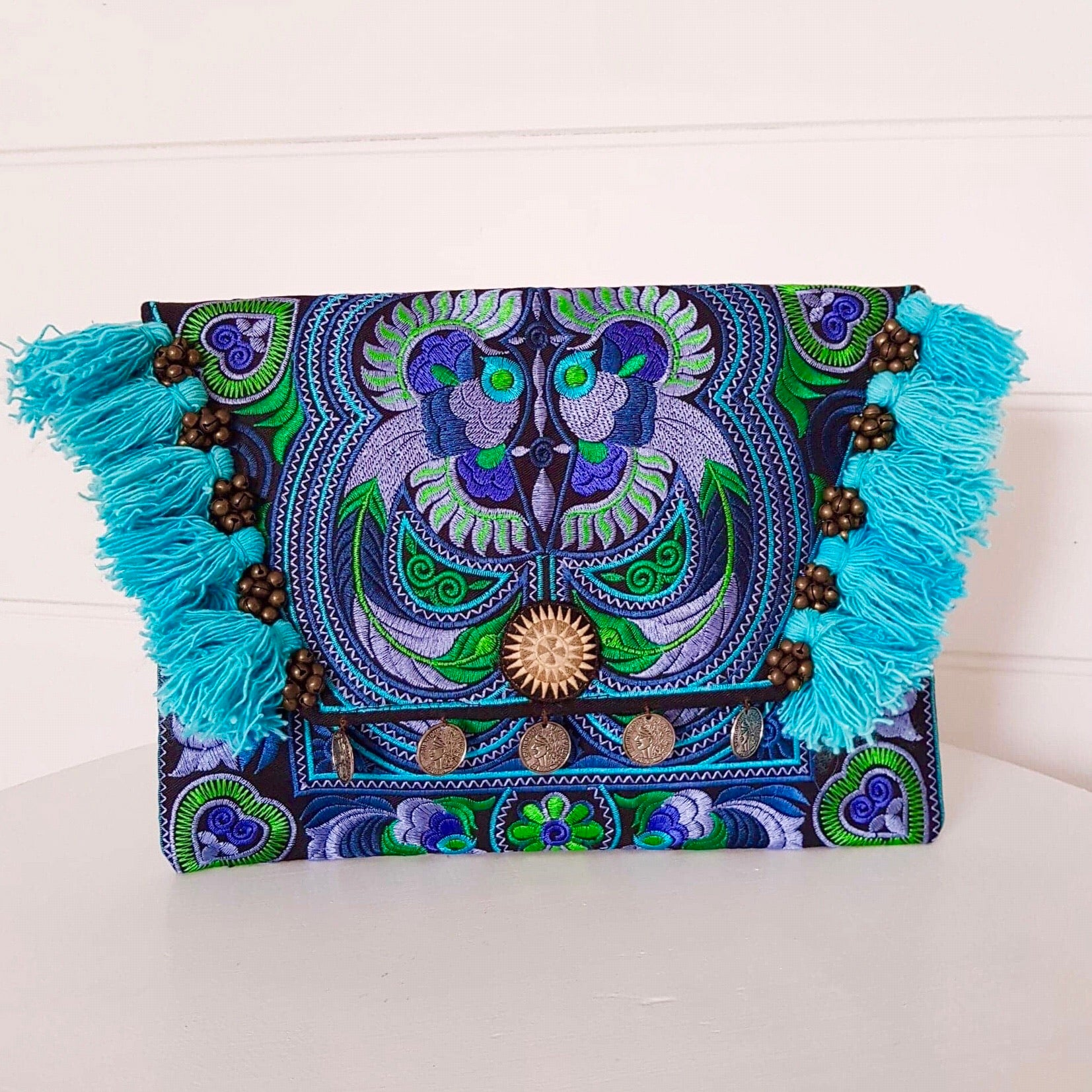 Hill Tribe Embroidered Clutch Turquoise, Indigo & Green
