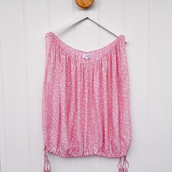 Summer Top  Pale Pink Leaf Print