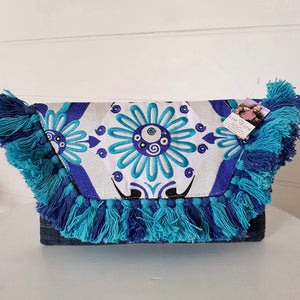 Hill Tribe Embroidered Clutch Turquoise & Denim