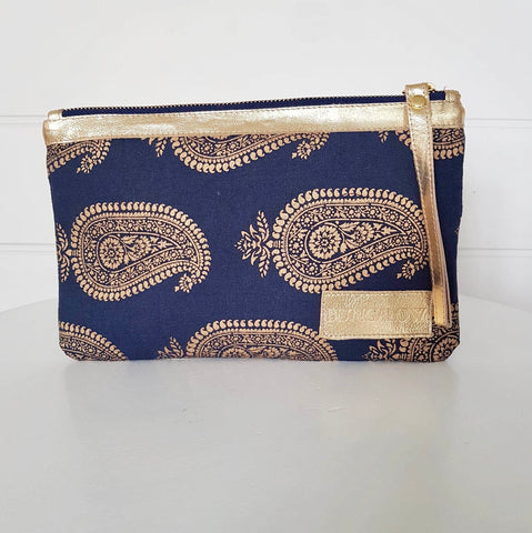 Gold Paisley Wallet - Midnight Blue