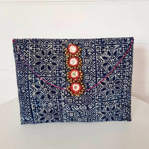 Hill Tribe Embroidered Clutch Indigo