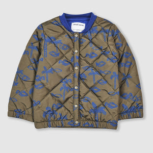 Fish Print Padded Quilted Jacket