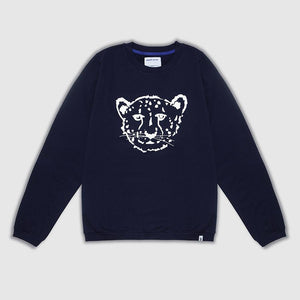 Navy Cheetah Adult Sweater