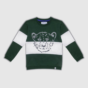 Cheetah Block Green & White Sweater