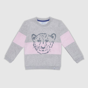 Cheetah Block Grey and Pink Sweater