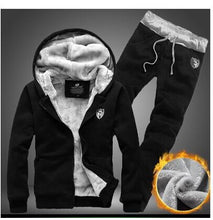 Load image into Gallery viewer, Men's Black Sweatshirt Fleece Hoodie Tops and Pants