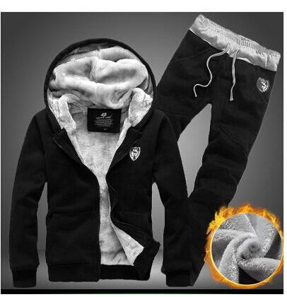 Men's Black Sweatshirt Fleece Hoodie Tops and Pants