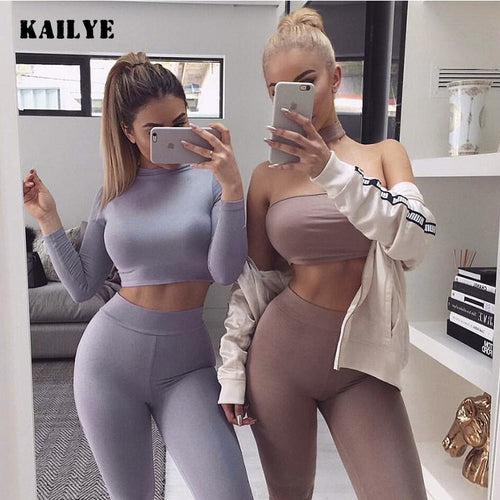 Women's Fleece Sexy Top and Long Pant Two Piece Set