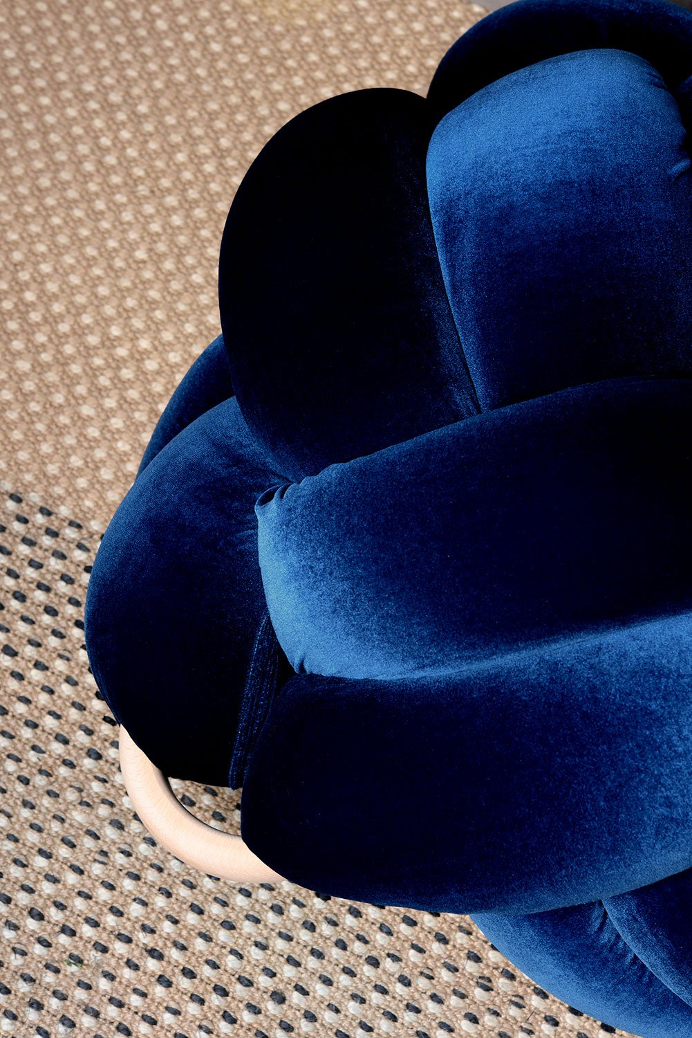 Royal Blue Velvet Knot Pouf