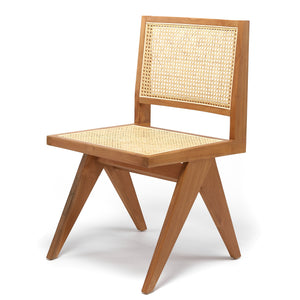 Cane Dining Chair Armless- Natural