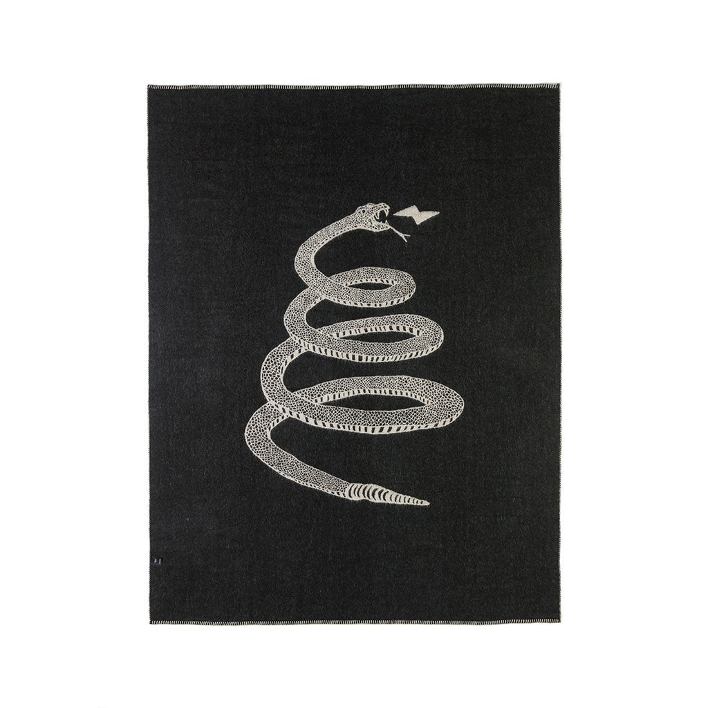 Snake Reversible Throw - Ivory/Black