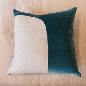 Teal Linen Velvet Pillow