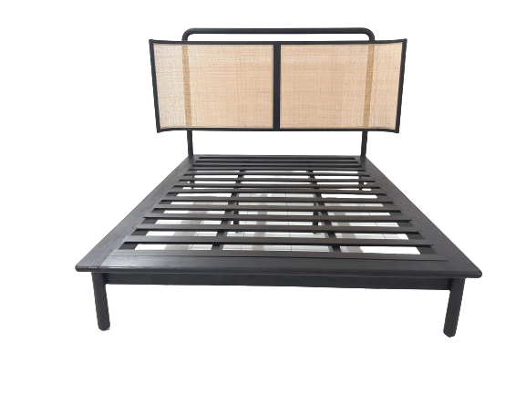 Cane Bed Frame Black - Queen or King