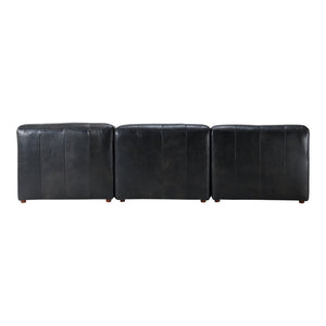 Leather Slipper Modular Sofa- Black