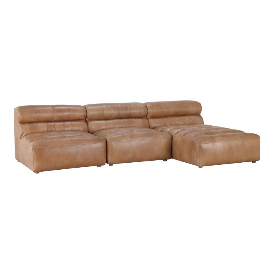 Leather Slipper Modular Sofa- Tan