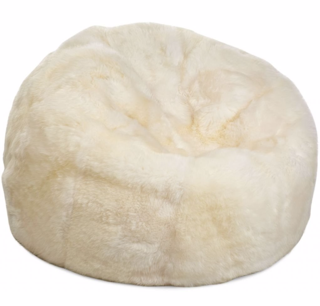 Cream Sheepskin Pouf