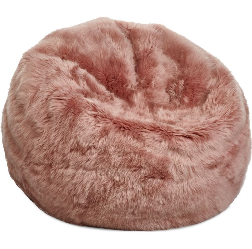 Salmon Sheepskin Pouf