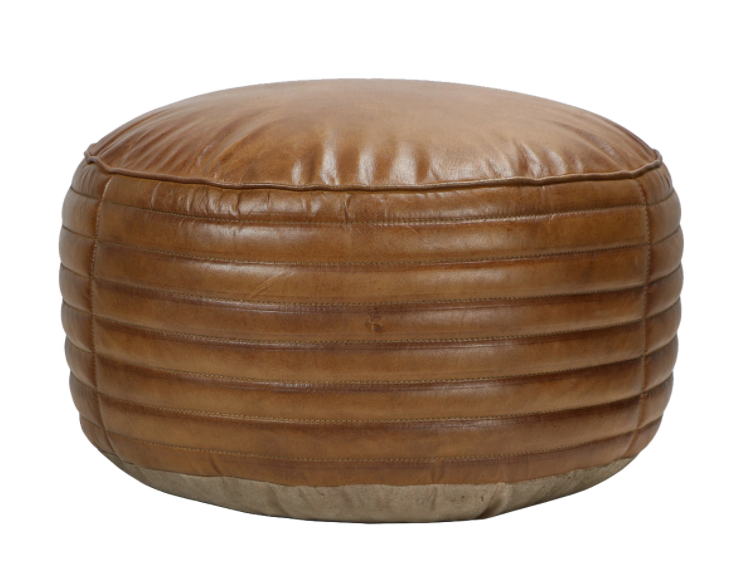 Leather Circle Pouf