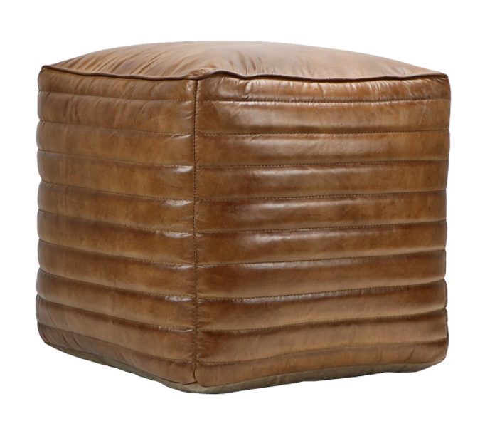 Leather Square Pouf