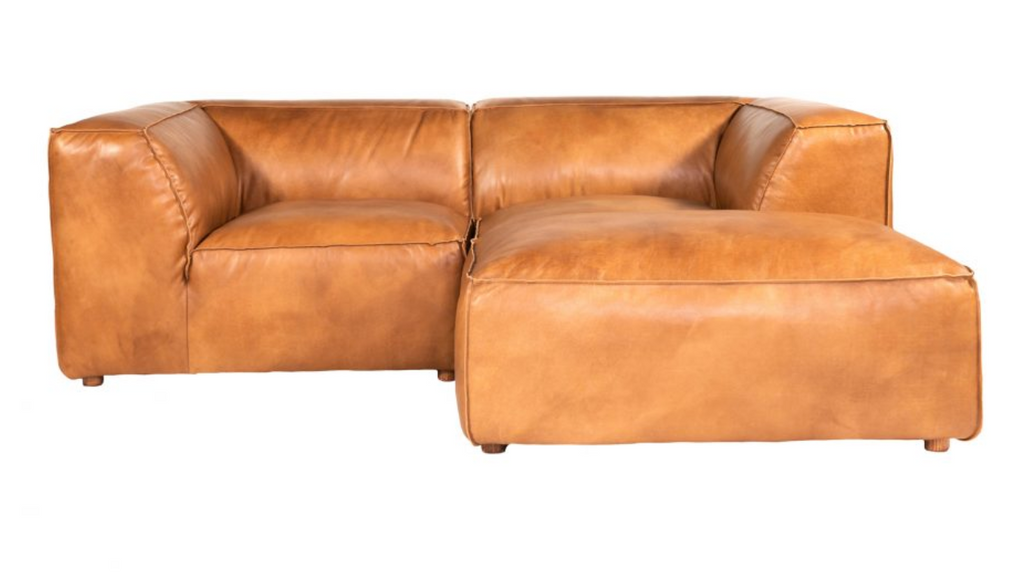 Leather Modular Loveseat with Ottoman